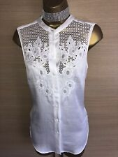 Exquisite Karen Millen White Silk Cotton Embroidered Blouse Top Uk16 Stunning