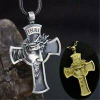 Men's Church Jesus Cross Necklace Savior Pendant Gold Silver Christian Jewelry