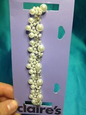One New Claire's Faux Pearl And Rhinestone Choker Necklace