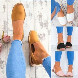 Ladies Flat Sandals Peep Toe Espadrille Slingback Women Summer Casual Shoes Size