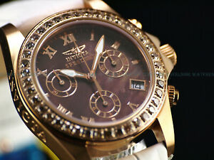 Rare Invicta 38mm SWISS MADE Diamond Chrono Brown MOP Dial RGP SS Sapphire Watch