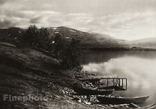 1924 Vintage SCANDINAVIA Photo Art Sweden Lapland Lake Boat Mountain Landscape