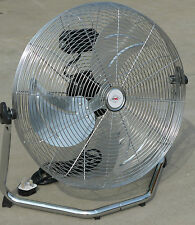 "HIGH VELOCITY FAN 18"" CHROME FINISH TILTS 3 SPEED PORTABLE LARGE STAND 240v"