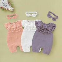 Newborn Baby Kid Girls Solid Sleeveless Jumpsuit Romper Headband Outfits Clothes