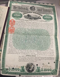 Four $1000 Gold Bonds of The Mowhawk & Malone Railway Signed by Chaucey DePew
