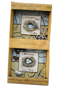 """NewView """"Bless This Nest"""" Set of 2 Wall Plaques 3D Bird Nest Hanging Decor, NEW"""
