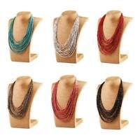 Boho Women Seed Beads Necklace Long Multi Layer Chain Bib Statement Jewelry Gift