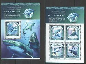 ML188 2015 MALDIVES FAUNA CONVERSATION PROJECTS GREAT WHITE SHARK 1KB+1BL MNH