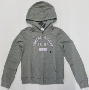ABERCROMBIE & FITCH A&F Shine Logo Full Zip Hoodie * Heather Grey * Size XL (16)
