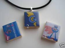SUPER GROVER Scrabble Tile Pendant W/Necklace