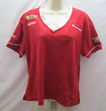 Vintage Ski Doo Snowmobile Bombardier XL V Neck T Shirt Polo Red Short Sleeve