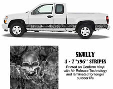 Skully Skulls Stripes Vehicle Graphic Vinyl Decals Truck Stickers Stripes