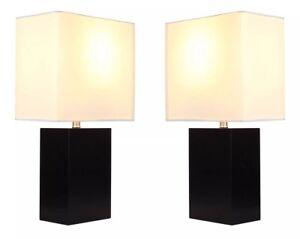 Set Of 2 Contemporary Table & Desk Lamp - Genuine Wood Base (Classic Black) LED