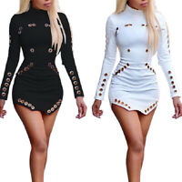 Women Sexy Bodycon Hollow Out Elegant Mini Dress Long Sleeve Party Clubwear New