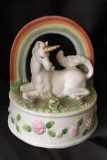 Enesco Unicorn Music box Over the Rainbow Bisque Vintage collectible Figurine