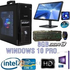 "PC DESKTOP GAMING I3 WIFI WINDOWS 10 PRO 8GB 1TB HDMI MONITOR 22"" TASTIERA MOUSE"