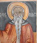 Antique religious gouache painting saint portrait icon