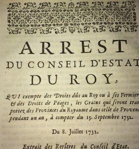 PROVENCE.IMPORTATION DES GRAINS. 1732.