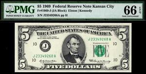 1969 $5 Kansas City Federal Reserve Note FRN • PMG 66 EPQ • Fr.1969-J