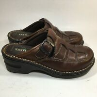Eastland Womens Mules Brown Woven Leather Slip On Clog Shoes Size 6M
