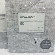 West Elm Belgian Flax Linen Contrast Stripe Curtain drapes set of 2  48x108