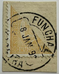 1892 FUNCHAL BISECT STAMP #1 WITH 1893 SON CANCEL, MADEIRA PORTUGAL