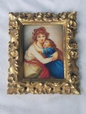 ANTIQUE HAND PAINTED MINIATURE MOTHER & DAUGHTER.