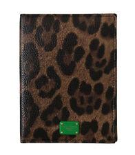 DOLCE & GABBANA Cardholder Wallet Brown Leopard Print Leather Bifold Passport