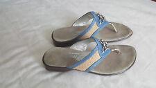 Onex Womens Sandals Flip Flops Stylish Denim Fabric Sz 8