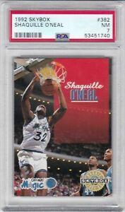 1992 Skybox Basketball Card #382 Shaquille O'Neal Rookie Orlando Magic PSA 7