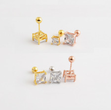 Stainless Steel Silver Lab Diamond Square Basket Screw Back Stud Earrings PE30