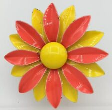Enamel Retro Style Flower Pin Multicolored Yellow & Orange Brooch Vintage Piece