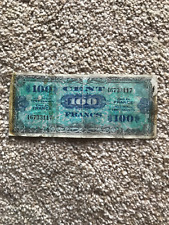 1944  100  CENT  FRANCE  BANKNOTE  MILITARY WWII   FLAG BACK