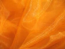 A08 (Per Meter) Orange Crystal Mirror Organza Darpping Sheer Fabric Material