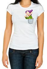 Pocket Dopey 7 Dwarfs funny 3/4 Short sleeve Woman T Shirt K782