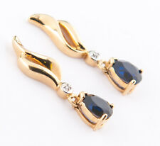 Blue Sapphire Pear Cut Earrings with Diamond accent 10k Yellow Gold