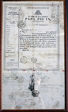 VATIKAN REISEPASS PASSPORT PAPST PIUS IX. ROM PROF. EUGENIO ALBERI STEMPEL 1849