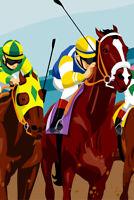 Jockeys Racing Horses Art Print Poster 12x18 inch
