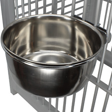 800122 Stainless Steel 20 oz Cage Coop Clamp Bolt Cup Bird Dog Food Water Bowl