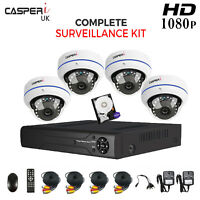 Complete CCTV Kit HD 1080P 2.0MP Dome Cameras with 4CH DVR System Night vision