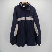 Reebok Blue White High Neck Full Zip Lined Outdoor Windbreaker Jacket Mens 2XL