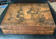 Vintage Wood Trinket Jewelry Storage Box