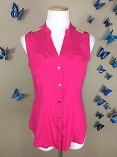 Cache $98 Stretch Silk Gold Decals Snap Button Structured Sleeveless Top Size S