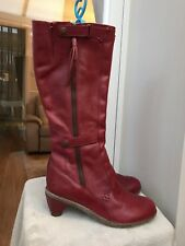 Dr Martens Red 'jenna' Knee High Leather Boots Size UK 7 L & 6.5 R