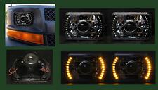 H6014 H6052 H6054 7x6 Amber LED Halo Black Chrome Projector Headlights