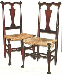 """Pr side CHAIRs & FOOTSTOOL, Hudson River Valley, Queen Anne, marked, 40""""t"""