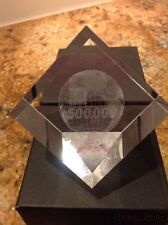 Cube Crystal Paper Weight W/ Etched World, Enterprise, Unique