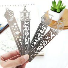 4 Pcs Creative Hollow Ultra-thin Metal Paper Clips  Bookmark Ruler Gift craft