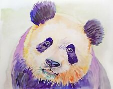 10X8 PANDA PORTRAIT, WILDLIFE ANIMAL ART original watercolor