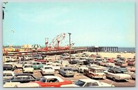 Ocean City, MD postcard Amusement and Fishing Pier 1960s, rides cars lot beach